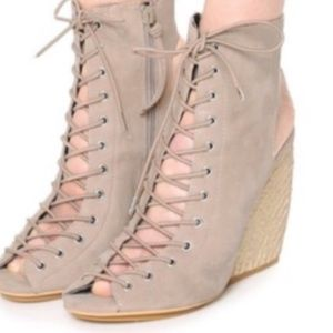 REBECCA MINKOFF Elle Lace up Wedge Espadrilles